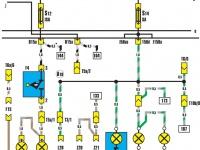 Фонари заднего хода, освещение панели приборов, моторного отсека
